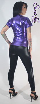 Womens Leggings shown in Black Wet Look Lycra Spandex, custom made by Suzi Fox. You can order this in almost any fabric on this site.  • Custom made to your measurements! • Available in black white, red, navy blue, royal blue, turquoise, hot pink, lime green, green, yellow, neon orange, steel gray. lycra spandex. This is a 4-way stretch fabric with a medium shine. Very comfortable! • 1 inch elastic at the waist. • Optional ankle zippers • Optional rear patch pockets • Optional belt loops • Made in the U.S.A.