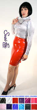 Pencil Skirt shown in Red Vinyl/PVC Spandex, custom made by Suzi Fox. Custom made to your measurements! Available in black, white, red, navy blue, royal blue, turquoise, purple, Neon Pink, fuchsia, light pink, matte black (no shine), matte white (no shine), black 3D Prism, red 3D Prism, Turquoise 3D Prism, Baby Blue 3D Prism, Hot Pink 3D Prism, and any other fabric on this site. • Plus size available • Optional belt loops Made in the U.S.A.