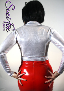 Pencil Skirt shown in Red Vinyl/PVC Spandex, custom made by Suzi Fox. Custom made to your measurements! Available in black, white, red, navy blue, royal blue, turquoise, purple, Neon Pink, fuchsia, light pink, matte black (no shine), matte white (no shine), black 3D Prism, red 3D Prism, Turquoise 3D Prism, Baby Blue 3D Prism, Hot Pink 3D Prism, and any other fabric on this site. • Optional belt loops Made in the U.S.A.
