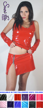 Hiphugger Micro Mini Skirt with zipper side slit shown in Gloss Red Vinyl/PVC Spandex, custom made by Suzi Fox. Custom made to your measurements! Available in black, white, red, navy blue, royal blue, turquoise, purple, Neon Pink, fuchsia, light pink, matte black (no shine), matte white (no shine), black 3D Prism, red 3D Prism, Turquoise 3D Prism, Baby Blue 3D Prism, Hot Pink 3D Prism, and any other fabric on this site. Made in the U.S.A.