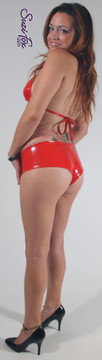 Cheeky Peeker Booty Shorts shown in Gloss Red Vinyl/PVC Spandex, custom made by Suzi Fox. Custom made to your measurements! Available in black, white, red, navy blue, royal blue, turquoise, purple, Neon Pink, fuchsia, light pink, matte black (no shine), matte white (no shine), black 3D Prism, red 3D Prism, Turquoise 3D Prism, Baby Blue 3D Prism, Hot Pink 3D Prism, and any other fabric on this site. Made in the U.S.A.
