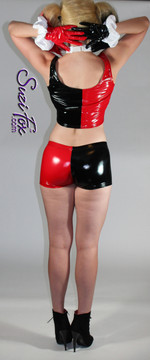 Harley Quinn Shorts shown in Black & Red Gloss vinyl/PVC, custom made by Suzi Fox.  You can order this in almost any fabric on this site.  • Shown with optional tank top, and gloves. • Custom made to your measurements! • Available in black, red, white, light pink, neon pink, fuchsia, purple, royal blue, navy blue, turquoise, black matte (no shine), white matte (no shine) stretch vinyl coated spandex. • 4 diamonds on red leg. • 1 inch elastic at the waist. • Optional 1 or 2-slider crotch zipper. • Optional rear patch pockets • Optional belt loops • Made in the U.S.A.