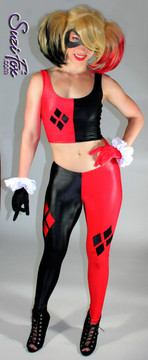 Harley Quinn Tank Top shown in Black & Red Wetlook Lycra Spandex, custom made by Suzi Fox. Custom made to your measurements! • 4 Diamonds on the red side. • Shown with optional leggings & gloves. Available in black, white, red, turquoise, navy blue, royal blue, hot pink, lime green, green, yellow, steel gray, neon orange Wet Look, and any other fabric on this site. Made in the U.S.A.