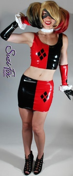 Harley Quinn Hiphugger Mini Skirt shown in Gloss Black & Red Vinyl/PVC Spandex, custom made by Suzi Fox. Custom made to your measurements! • 4 Diamonds on the red side. • Shown with optional tank top, arm guards, and gloves. Available in black, white, red, navy blue, royal blue, turquoise, purple, Neon Pink, fuchsia, light pink, matte black (no shine), matte white (no shine), black 3D Prism, red 3D Prism, Turquoise 3D Prism, Baby Blue 3D Prism, Hot Pink 3D Prism, and any other fabric on this site. Made in the U.S.A.