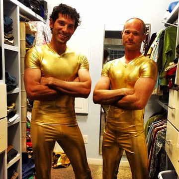 American Ninja Warriors wearing Suzi Fox gold shirts and pants! Mens pants shown in Gold Metallic Foil coated Spandex, custom made by Suzi Fox. Custom made to your measurements! • Available in gold, silver, copper, gunmetal, turquoise, Royal blue, red, green, purple, fuchsia, black faux leather/rubber Metallic Foil and any fabric on this site. • 1 inch no-roll elastic at the waist. • Optional 1 or 2-slider crotch zipper. • Choose your ankle size - tight ankles, jean cut, boot cut, or bellbottom. • Optional ankle zippers. • Optional belt loops. • Optional rear patch pockets. Made in the U.S.A.