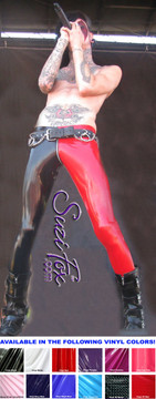 Mens Low Rise two tone Leggings shown in Gloss Black & Red Vinyl/PVC Spandex, custom made by Suzi Fox. Custom made to your measurements! • shown with optional 1 slider front zipper. • Available in black, white, red, navy blue, royal blue, turquoise, purple, Neon Pink, fuchsia, light pink, matte black (no shine), matte white (no shine), black 3D Prism, red 3D Prism, Turquoise 3D Prism, Baby Blue 3D Prism, Hot Pink 3D Prism Vinyl and any fabric on this site. • 1 inch no-roll elastic at the waist. • Optional 1 or 2-slider crotch zipper. • Choose your ankle size - tight ankles, jean cut, boot cut, or bellbottom. • Optional ankle zippers. • Optional belt loops. • Optional rear patch pockets. Made in the U.S.A. Photo of Jayy Von Monroe of the band Blood on the Dancefloor.