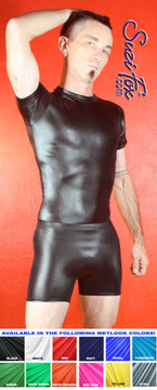 Mens Smooth Front shorts shown in Black Wetlook Lycra Spandex, custom made by Suzi Fox. Custom made to your measurements! • Available in black, white, red, turquoise, navy blue, royal blue, hot pink, lime green, green, yellow, steel gray, neon orange Wet Look and any fabric on this site. • 1 inch no-roll elastic at the waist. • Optional belt loops. • Optional rear patch pockets. • Your choice of inseam and rise. 4 inch inseam is standard. • Made in the U.S.A.