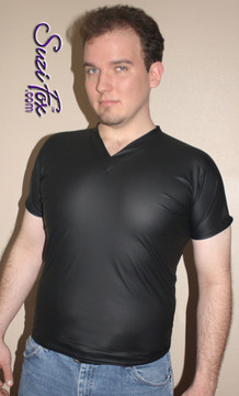 Mens V Neck Tee Shirt shown in Black Matte (no shine) Vinyl/PVC Spandex, custom made by Suzi Fox. • Available in matte black (no shine), matte white (no shine), gloss black, white, red, navy blue, royal blue, turquoise, purple, Neon Pink, fuchsia, light pink, black 3D Prism, red 3D Prism, Turquoise 3D Prism, Baby Blue 3D Prism, Hot Pink 3D Prism, and any fabric on this site. • Choose your sleeve length. • Give us your measurements for a custom fit! • Standard length is 24 inches (61 cm) for sizes XXXS-Medium; 27 inches (68.6 cm) for sizes Large and up. • Optional add extra length to the shirt. • Made in the U.S.A.