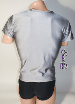 Mens V Neck Tee Shirt shown in Steel Gray Milliskin Tricot Spandex, custom made by Suzi Fox. • Available in black, white, red, royal blue, sky blue, turquoise, purple, green, neon green, hunter green, neon pink, neon orange, athletic gold, lemon yellow, steel gray Miilliskin Tricot spandex, and any fabric on this site. • Choose your sleeve length. • Give us your measurements for a custom fit! • Standard length is 24 inches (61 cm) for sizes XXXS-Medium; 27 inches (68.6 cm) for sizes Large and up. • Optional add extra length to the shirt. • Made in the U.S.A.