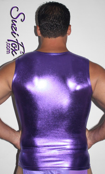 Mens Muscle Tee Shirt shown in Purple Metallic Foil Spandex, custom made by Suzi Fox. • Available in gold, silver, copper, gunmetal, turquoise, Royal blue, red, green, purple, fuchsia, black faux leather/rubber Metallic Foil, and any fabric on this site. • Give us your measurements for a custom fit! • Standard length is 24 inches (61 cm) for sizes XXXS-Medium; 27 inches (68.6 cm) for sizes Large and up. • Optional add extra length to the shirt. • Made in the U.S.A.