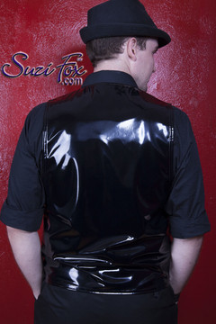 Mens Custom Vest in Gloss Black Vinyl/PVC Spandex, custom made by Suzi Fox. Custom made to your measurements! Available in black, white, red, navy blue, royal blue, turquoise, purple, Neon Pink, fuchsia, light pink, matte black (no shine), matte white (no shine), black 3D Prism, red 3D Prism, Turquoise 3D Prism, Baby Blue 3D Prism, Hot Pink 3D Prism, and any other fabric on this site. Button front. Made in the U.S.A.