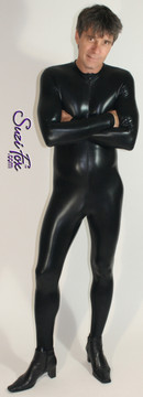 Mens Custom Catsuit shown in Black (Faux Leather) Metallic Foil Spandex, by Suzi Fox.  • Choose any fabric on this site, including vinyl/PVC, metallic foil, metallic mystique, wetlook lycra Spandex, Milliskin Tricot Spandex. • Optional crotch zippers. • Optional wrist zippers. • Optional ankle zippers. • Optional finger loops. • Crafted in the U.S.A. • Worldwide shipping. • For custom sizing and other options, go to http://www.LiquidVinylClothing.com/CatsuitMensCustom