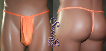 Men's Adjustable Pouch, G-String thong, shown in Neon Orange Wet Look Lycra Spandex, custom made by Suzi Fox. • Adjustable! Make it thinner or wider! • Standard front height is 8 inches (20.3 cm) tall. • Available in 3, 4, 5, 6, 7, 8, 9, and 10 inch front heights. • Wear it as swimwear OR underwear! • You can choose any fabric on this site, including vinyl/PVC, Metallic Foil, Metallic Mystique, Wetlook Lycra Spandex, Milliskin Tricot Spandex. The vinyl/PVC is a latex alternative, great for people allergic to latex! • Worldwide shipping. • Made in the U.S.A. We custom make every garment when you order it (including standard sizes).