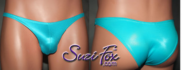 Mens Pouch Front, Wide Strap, Rio Bikini - shown in Turquoise Wetlook Lycra Spandex, custom made by Suzi Fox. • Available in black, white, red, turquoise, navy blue, royal blue, hot pink, lime green, green, yellow, steel gray, neon orange Wet Look or any fabric on this site. • Standard front height is 7 inches (17.8 cm). • Available in 4, 5, 6, 7, 8, 9, and 10 inch front heights. • Wear it as swimwear OR underwear! • Made in the U.S.A.