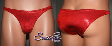 Mens Pouch Front, Wide Strap, Rio Bikini - shown in Red Metallic Mystique Spandex, custom made by Suzi Fox (7 inches (17.8 cm) tall. • Available in black, red, turquoise, green, purple, royal blue, hot pink/fuchsia, baby pink, baby blue, silver, copper, gold Metallic Mystique spandex or any fabric on this site. • Standard front height is 7 inches (17.8 cm). • Available in 4, 5, 6, 7, 8, 9, and 10 inch front heights. • Wear it as swimwear OR underwear! • Made in the U.S.A.