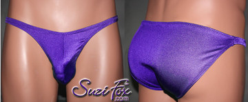 Mens Pouch Front, Wide Strap, Full Rear Bikini - shown in Purple Milliskin Tricot Spandex, custom made by Suzi Fox. • Available in black, white, red, royal blue, sky blue, turquoise, purple, green, neon green, hunter green, neon pink, neon orange, athletic gold, lemon yellow, steel gray Miilliskin Tricot spandex or any fabric on this site. • Standard front height is 6 inches (15.2 cm). • Available in 4, 5, 6, 7, 8, 9, and 10 inch front heights. • Wear it as swimwear OR underwear! • Made in the U.S.A.