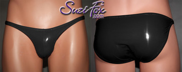 Mens Pouch Front, Wide Strap, Full Rear Bikini - shown in Gloss Black Vinyl/PVC Spandex, custom made by Suzi Fox. • Available in black, white, red, navy blue, royal blue, turquoise, purple, Neon Pink, fuchsia, light pink, matte black (no shine), matte white (no shine), black 3D Prism, red 3D Prism, Turquoise 3D Prism, Baby Blue 3D Prism, Hot Pink 3D Prism Vinyl/PVC or any fabric on this site. • Standard front height is 7 inches (17.8 cm). • Available in 4, 5, 6, 7, 8, 9, and 10 inch front heights. • Wear it as swimwear OR underwear! • Made in the U.S.A.