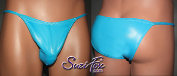 Mens Smooth Front, Skinny Strap, Brazilian Bikini - shown in Turquoise Wetlook Lycra Spandex, custom made by Suzi Fox. • Available in black, white, red, turquoise, navy blue, royal blue, hot pink, lime green, green, yellow, steel gray, neon orange Wet Look or any fabric on this site. • Standard front height is 7 inches (17.8 cm). • Available in 3, 4, 5, 6, 7, 8, 9, and 10 inch front heights. • Wear it as swimwear OR underwear! • Made in the U.S.A.