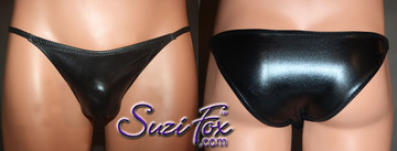Mens Smooth Front, Skinny Strap, Brazilian Bikini - shown in Black Faux Leather Metallic Foil Spandex, custom made by Suzi Fox. • Available in gold, silver, copper, gunmetal, turquoise, Royal blue, red, green, purple, fuchsia, black faux leather/rubber Metallic Foil or any fabric on this site. • Standard front height is 5 inches (12.7 cm). • Available in 4, 5, 6, 7, 8, 9, and 10 inch front heights. • Wear it as swimwear OR underwear! • Made in the U.S.A.