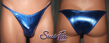 Men's Smooth Front, Skinny Strap, Tanga Bikini - shown in Royal Blue Metallic Foil Spandex, custom made by Suzi Fox. • Available in gold, silver, copper, gunmetal, turquoise, Royal blue, red, green, purple, fuchsia, black faux leather/rubber Metallic Foil or any fabric on this site. • Standard front height is 7 inches (17.8 cm). • Available in 4, 5, 6, 7, 8, 9, and 10 inch front heights. • Choose your rear style and size! • Wear it as swimwear or underwear! Made in the U.S.A.