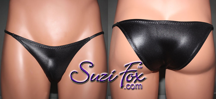 Mens Smooth Front, Skinny Strap, Rio Bikini - shown in Black Wetlook Lycra Spandex, custom made by Suzi Fox. • Available in black, white, red, turquoise, navy blue, royal blue, hot pink, lime green, green, yellow, steel gray, neon orange Wet Look or any fabric on this site. • Standard front height is 6 inches (15.24 cm). • Available in 4, 5, 6, 7, 8, 9, and 10 inch front heights. • Wear it as swimwear OR underwear! • Made in the U.S.A.