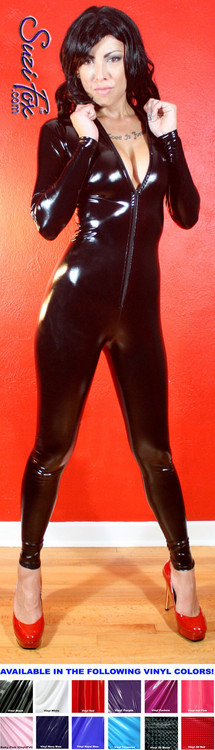 "Custom Catsuit by Suzi Fox shown in Black Gloss Black Vinyl/PVC coated Nylon Spandex.  You can order this Catsuit in almost any fabric on this site.  • Available in black, red, white, light pink, neon pink, fuchsia, purple, royal blue, navy blue, turquoise, black matte (no shine), white matte (no shine), 3D black, 3D red stretch vinyl coated spandex. • Optional 1 or 2-slider crotch zipper, and ""Selene"" from Underworld TS Brass zipper. • Optional wrist zippers • Optional ankle zippers • Optional finger loops • Made in the U.S.A."