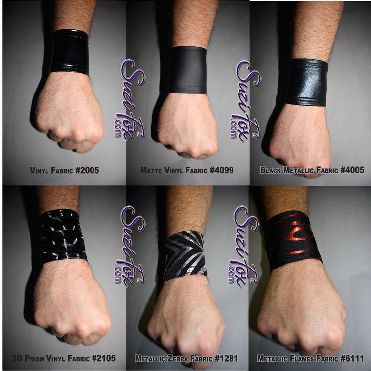 Custom wristband by Suzi Fox, Custom made to your measurements. • Available in any fabric on this site, including vinyl/PVC, metallic foil, mystique, wetlook lycra Spandex, Milliskin Tricot Spandex. • Price is for EACH. • Mix & Match! • Crafted in the U.S.A. • Worldwide shipping