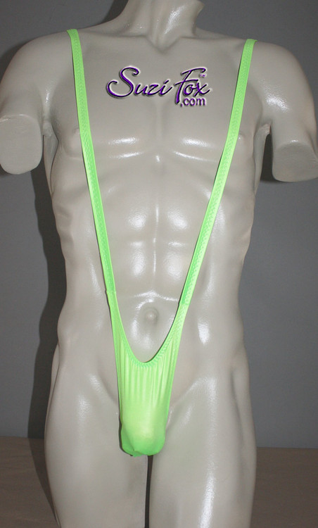 Men's Sling Thong Mankini Borat Style with Smooth Front, T-Back thong - shown in Neon Green Milliskin Tricot Spandex, custom made by Suzi Fox. • Available in black, white, red, royal blue, navy blue, sky blue, turquoise, purple, green, neon green, hunter green, neon pink, neon orange, athletic gold, yellow, steel gray Miilliskin Tricot spandex. This is a 4-way extreme stretch fabric with a slight shine. Light, airy, thin, and very comfortable! Lighter colors might be slightly see through when wet.  • Also available in any fabric on this site. • Front height is 7 inches (17.8 cm). • Made in the U.S.A.
