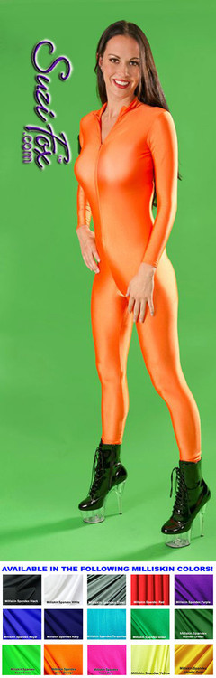 "Custom Catsuit by Suzi Fox shown in Neon Orange Milliskin Tricot Spandex.  You can order this Catsuit in almost any fabric on this site.  • Available in black, red, white, navy blue, royal blue, sky blue, turquoise, hunter green, green, neon green, neon pink, neon orange, athletic gold, lemon yellow, steel gray, purple. This is a light, thin, airy, 4-way stretch fabric with very little shine. • Your choice of front or back zipper (front zipper shown). • Optional 1 or 2-slider crotch zipper, and ""Selene"" from Underworld TS Brass zipper, or aluminum circular slider zipper like Catwoman comic characters. • Optional wrist zippers • Optional ankle zippers • Optional finger loops • Optional rear patch pockets • Made in the U.S.A."