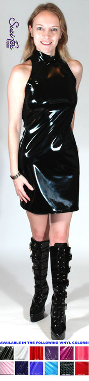 Open/cold Shoulder Mini Dress in Shiny Gloss Black Vinyl/PVC Spandex by Suzi Fox. Zipper in the back. Choose any fabric on this site! Available in black, white, red, navy blue, royal blue, turquoise, purple, fuchsia, neon pink, light pink, matte black (no shine), matte white (no shine) stretch vinyl/PVC coated nylon spandex. Made in the U.S.A.