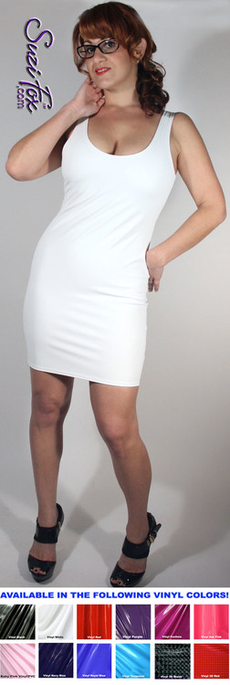 Tank Mini Dress in Matte White (no shine) Vinyl/PVC Spandex by Suzi Fox. Choose any fabric on this site! Available in matte black (no shine), matte white (no shine), gloss black, white, red, navy blue, royal blue, turquoise, purple, fuchsia, neon pink, light pink, stretch vinyl/PVC coated nylon spandex. Made in the U.S.A.