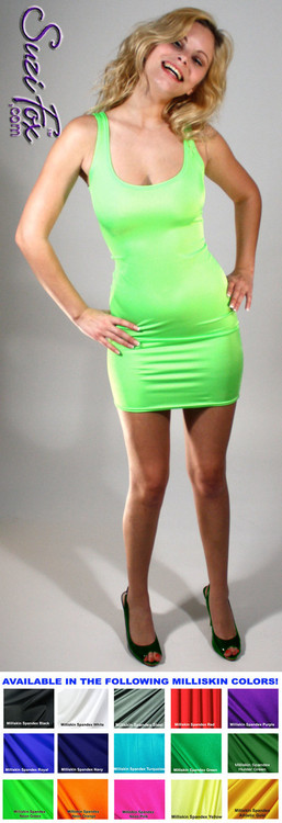 Tank Mini Dress in Neon Green Milliskin Tricot Spandex by Suzi Fox. Choose any fabric on this site! Available in black, white, red, navy blue, royal blue, sky blue, turquoise, green, Neon green, hunter green, neon piink, neon orange, athletic gold, lemon yellow, steel gray, purple Milliskin Shiny Tricot spandex. This is a light, thin, airy fabric with extreme stretch and slight shine. • Optional 2-slider zipper going the length of the dress, front or back, unzip from the top of the bottom! Made in the U.S.A.