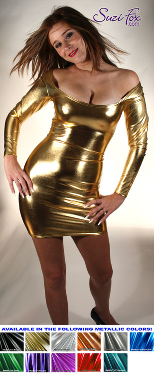 Scoop Neck, Long Sleeved Mini Dress in Gold Metallic Foil Spandex, custom made by Suzi Fox. Choose any fabric on this site! Custom made to your measurements. Available in gold, silver, copper, royal blue, purple, turquoise, red, green, fuchsia, gun metal, black metallic foil leather/rubber coated nylon spandex. • Optional wrist zippers. Made in the U.S.A.