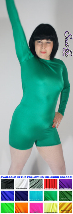 "Womens Romper shown in Green Shiny Milliskin Tricot spandex, custom made by Suzi Fox.  You can order this Romper in almost any fabric on this site.  • Available in black, white, red, royal blue, sky blue, turquoise, purple, green, neon green, hunter green, neon pink, neon orange, athletic gold, lemon yellow, steel gray Miilliskin Tricot spandex. • Standard inseam: 2 inches (5.1 cm) • Optional ""Selene"" from Underworld TS Brass zipper. • Optional wrist zippers. • Made in the U.S.A."