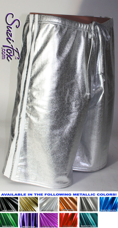 Mens Basketball or Board shorts shown in Silver Metallic Foil with White Vinyl stripes, custom made by Suzi Fox. • Available in gold, silver, copper, gunmetal, turquoise, Royal blue, red, green, purple, fuchsia, black faux leather/rubber Metallic Foil, and any fabric on this site. • 1 inch no-roll elastic at the waist. • Optional belt loops. • Optional rear patch pockets. • Optional drawstring. • Made in the U.S.A.