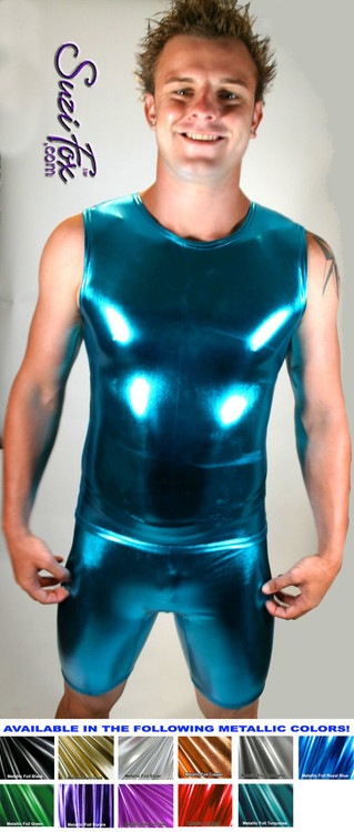Mens Muscle Tee Shirt shown in Turquoise Metallic Foil Spandex, custom made by Suzi Fox. • Available in gold, silver, copper, gunmetal, turquoise, Royal blue, red, green, purple, fuchsia, black faux leather/rubber Metallic Foil, and any fabric on this site. • Give us your measurements for a custom fit! • Standard length is 24 inches (61 cm) for sizes XXXS-Medium; 27 inches (68.6 cm) for sizes Large and up. • Optional add extra length to the shirt. • Made in the U.S.A.