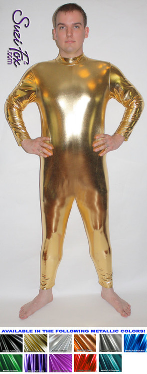 Mens Smooth Front (back zipper) Catsuit shown in Gold Metallic Foil Spandex, custom made by Suzi Fox. • Available in gold, silver, copper, gunmetal, turquoise, Royal blue, red, green, purple, fuchsia, black faux leather/rubber Metallic Foil, and any fabric on this site. • Optional wrist zippers • Optional ankle zippers • Optional finger loops • Made in the U.S.A.