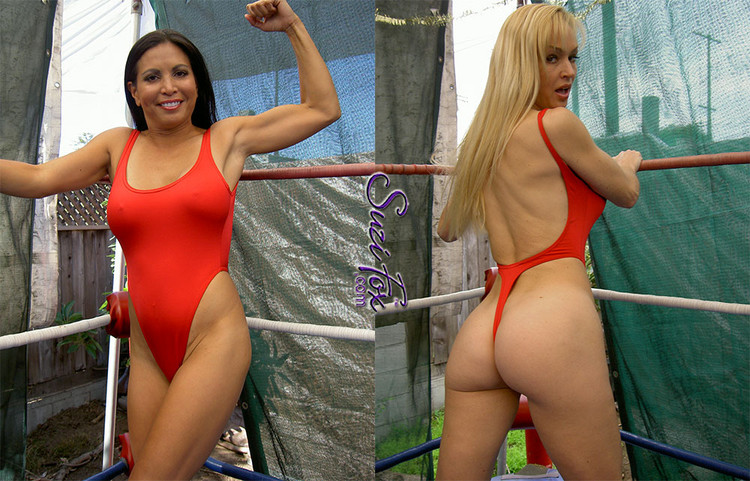Womens One Piece T-back Thong Swim Suit shown in Red Wet Look lycra Spandex, custom made by Suzi Fox. • Custom made to your measurements. • The high leg hole, low back and t-back thong rear create a stunning and sexy suit. • Available in black, white, red, turquoise, navy blue, royal blue, hot pink, lime green, green, yellow, steel gray, neon orange Wet Look, and any fabric on this site. • Made in the U.S.A.