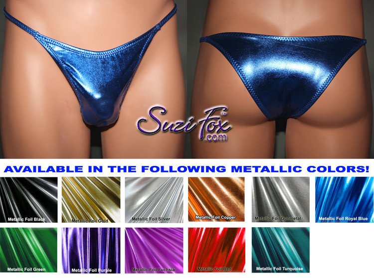 Men's Smooth Front, Skinny Strap, Tanga (1/4 rear coverage) Bikini - shown in Royal Blue Metallic Foil Spandex, custom made by Suzi Fox. • Available in gold, silver, copper, gunmetal, turquoise, Royal blue, red, green, purple, fuchsia, black faux leather/rubber Metallic Foil or any fabric on this site. • Standard front height is 7 inches (17.8 cm). • Available in 3, 4, 5, 6, 7, 8, 9, and 10 inch front heights. • Choose your rear style and size! • Wear it as swimwear or underwear! Made in the U.S.A.