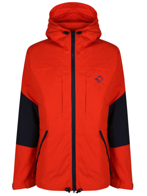 Colour: Blaze/Navy. Fully waterproof in the shoulders and hood and weatherproof elsewhere, the Talorc Hybrid Ventile jacket is lightweight and can be worn in most conditions.