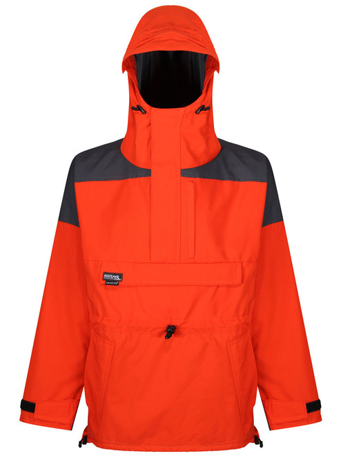 Liathach Cotton Analogy® Smock with fully integrated hood and wired peak. Colour: Blaze/Charcoal