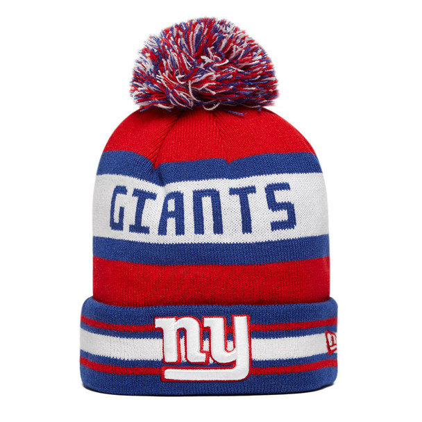 NEW ERA new york giants NFL team jake cuff knit bobble beanie hat [blue/red]
