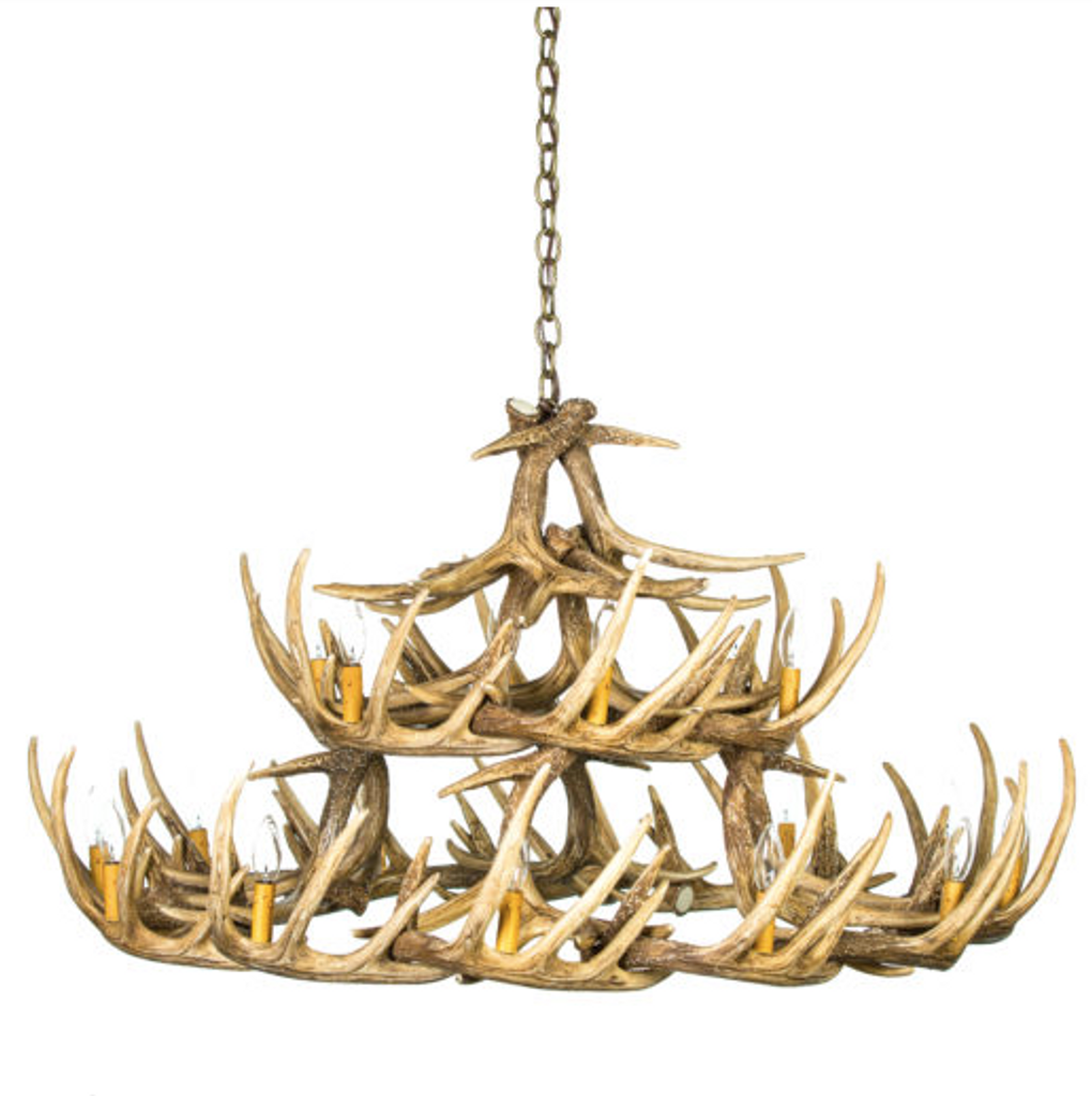 "The La Crosse Cast Antler Chandelier,50""Wide by 27""Tall"
