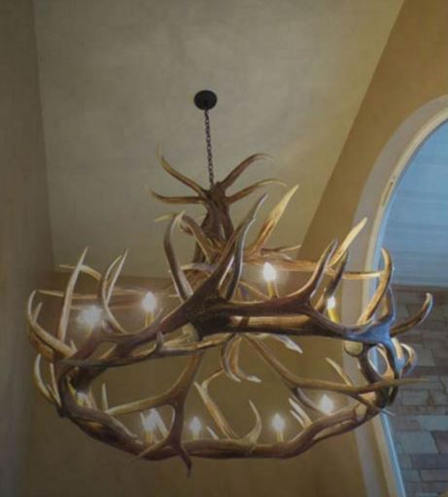 "Challis Cast Elk Antler Chandelier,60""Wide by 48""Tall"
