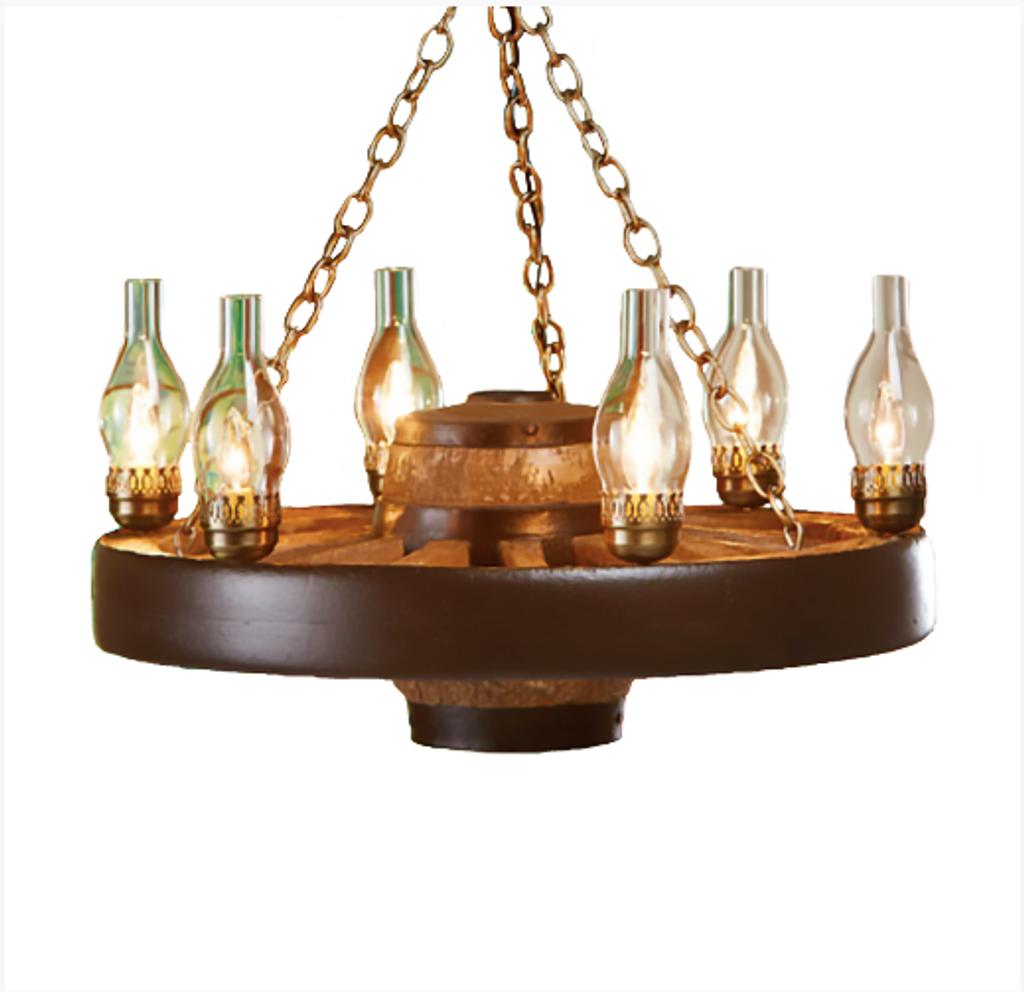 """Move 'Em Out! Small Wagon Wheel Chandelier, Reproduction,30""""Wide by12""""Tall"""