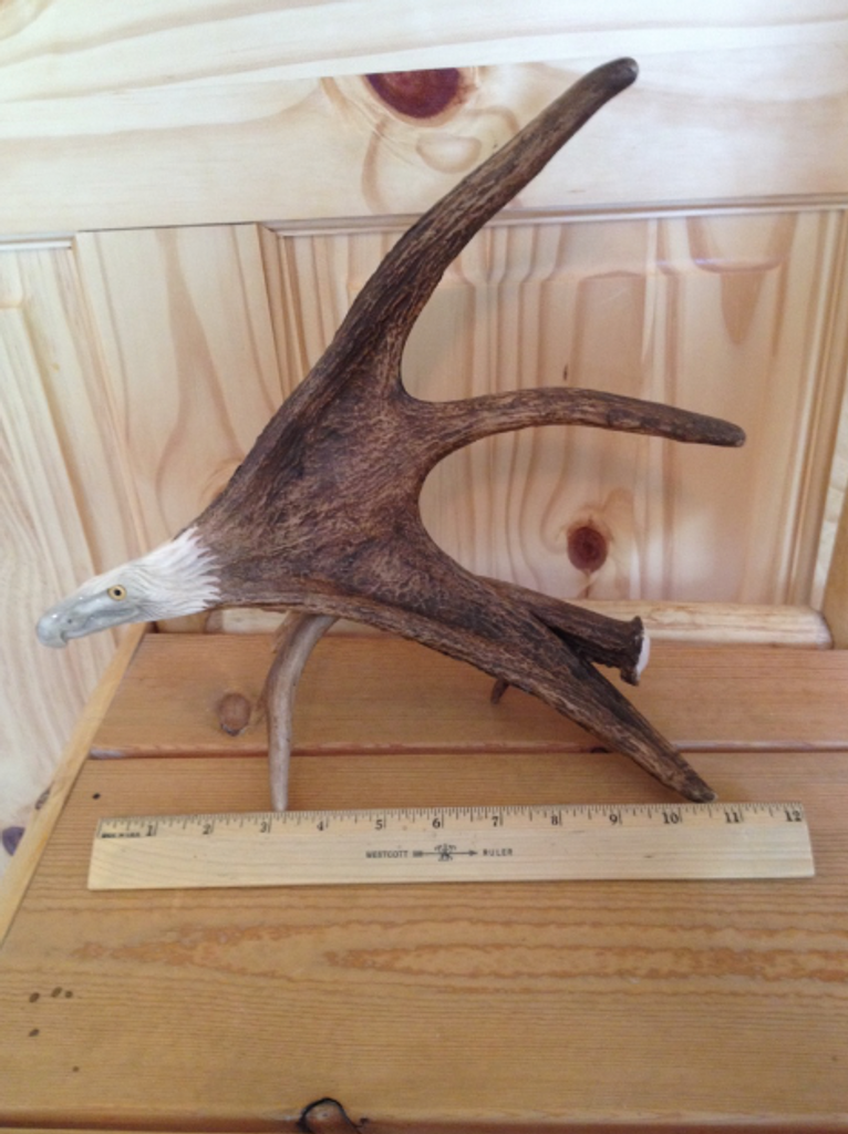 Soaring Eagle Antler Carving w/Antler Base
