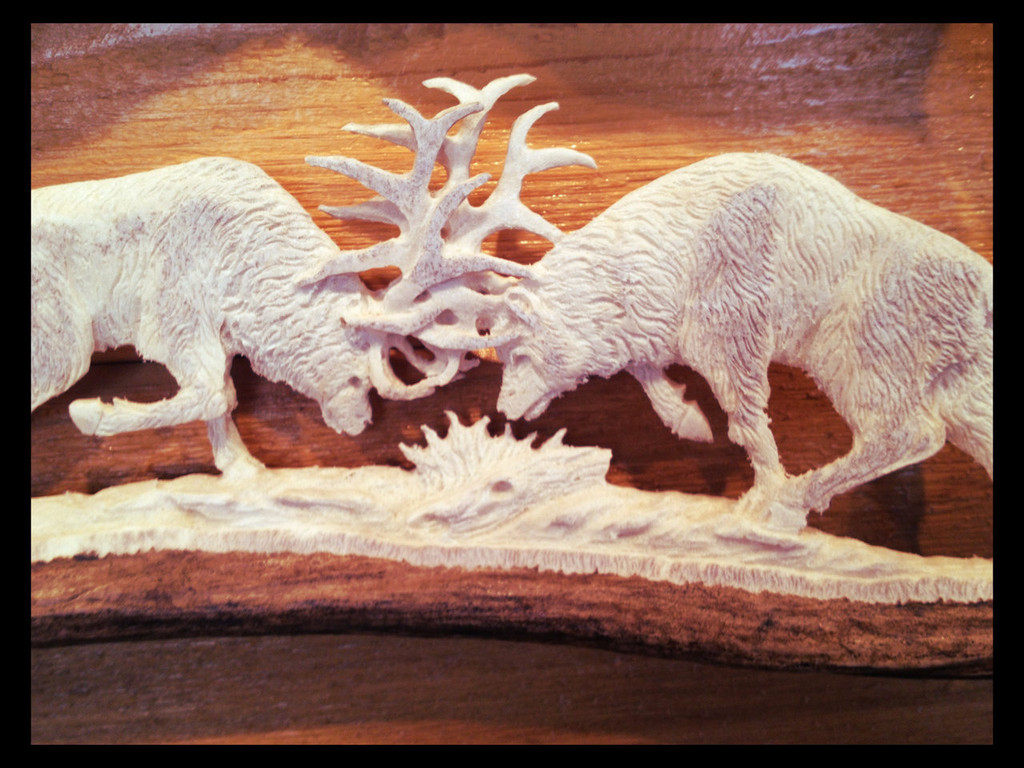 Fighting Elk Moose Antler Carving