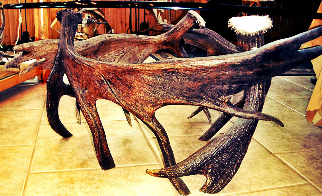 Moose Antler End Table w/Glass