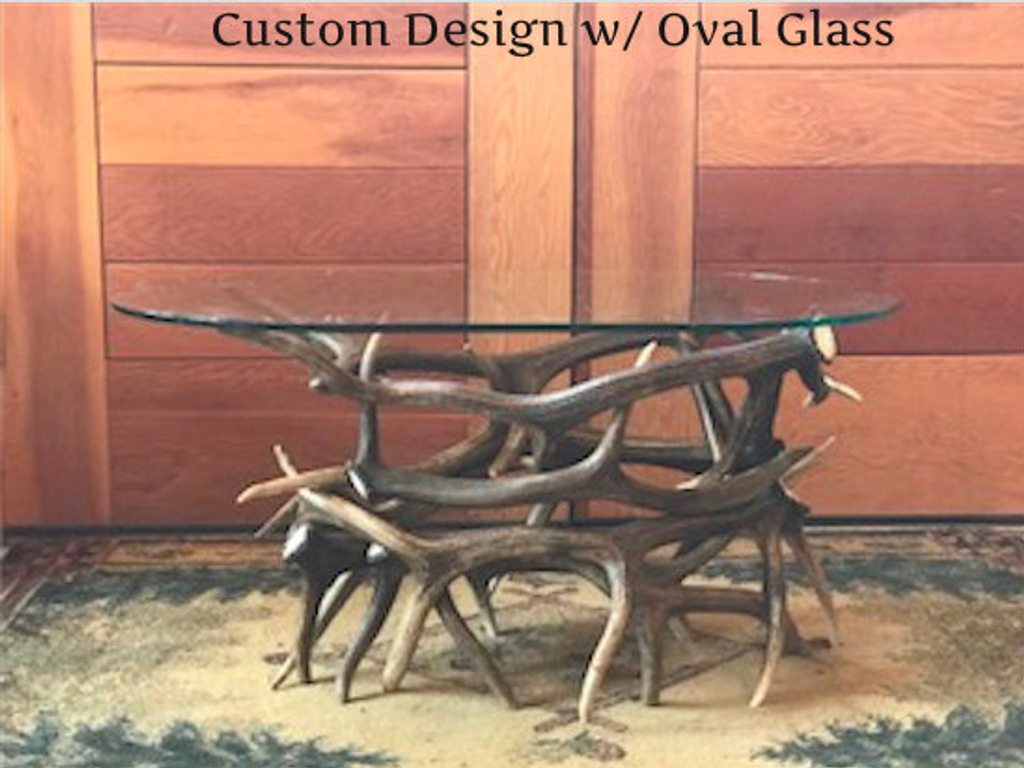 Elk Antler Coffee Table w/ Oval Glass