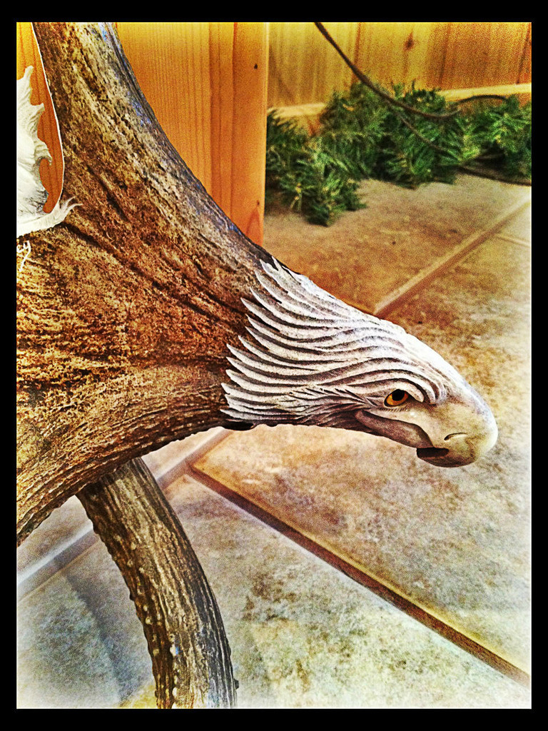 Naturally Wild Antler Carving w/Eagle Head